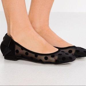 Sally Mesh Dot, Velvet And Bow Heel Ballet Flats